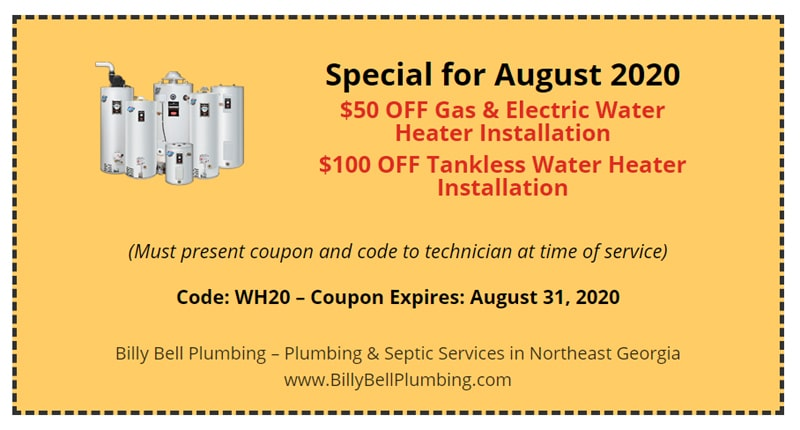 Water Heater Installation Coupon - Gainesville, GA