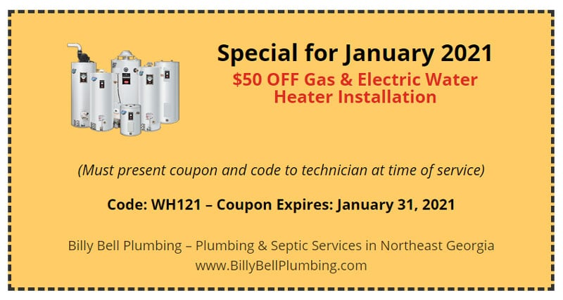 Water Heater Special/Coupon - Gainesville, GA Plumbers
